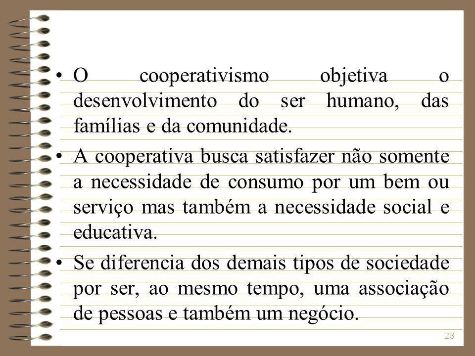 28 O cooperativismo objetiva o desenvolvimento do ser humano, das famílias e da comunidade. A cooperativa busca satisfazer não somente a necessidade d