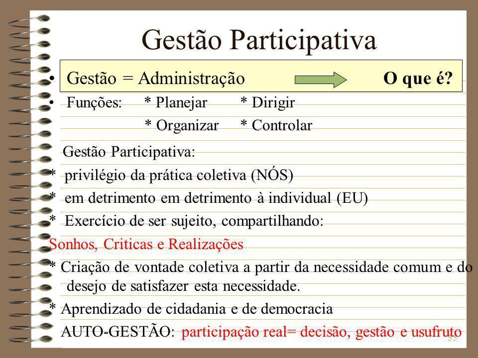 35 Gestão Participativa Gestão = Administração Funções: * Planejar * Dirigir * Organizar * Controlar Gestão Participativa: * privilégio da prática col