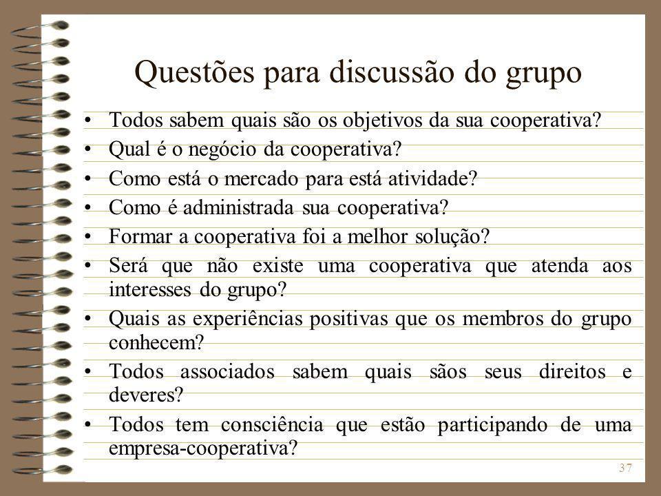 37 Questões para discussão do grupo Todos sabem quais são os objetivos da sua cooperativa? Qual é o negócio da cooperativa? Como está o mercado para e