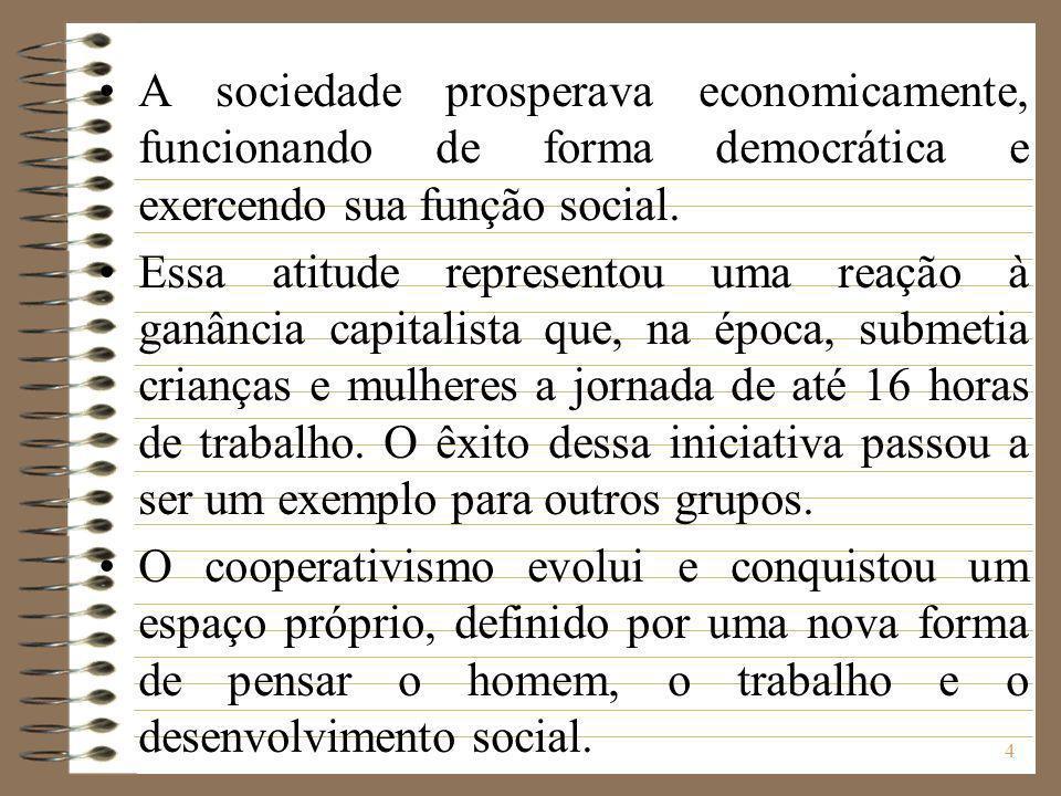 5 Por atuar de forma intermediária, onde a propriedade não é nem do capitalista nem do Estado, o cooperativismo é aceito por todos os governos e reconhecido como uma formula democrática para a solução de problemas sócio-econômicos.