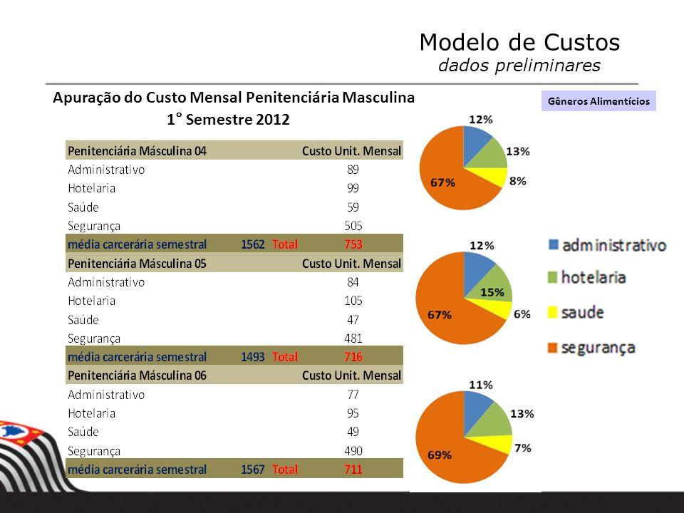Valores em $ 1,00 Apuração do Custo Mensal Penitenciária Masculina 1° Semestre 2012 Modelo de Custos dados preliminares Apuração do Custo Mensal Penit