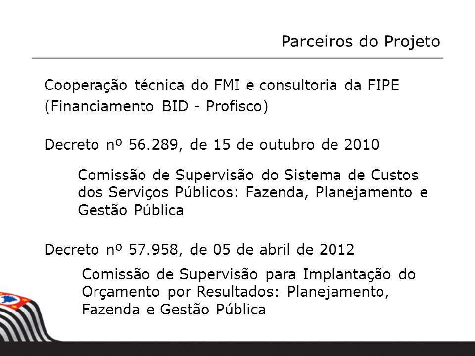 Cooperação técnica do FMI e consultoria da FIPE (Financiamento BID - Profisco) Decreto nº 56.289, de 15 de outubro de 2010 Comissão de Supervisão do S