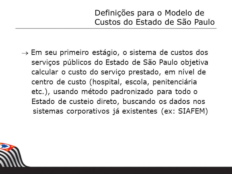 Em seu primeiro estágio, o sistema de custos dos serviços públicos do Estado de São Paulo objetiva calcular o custo do serviço prestado, em nível de c