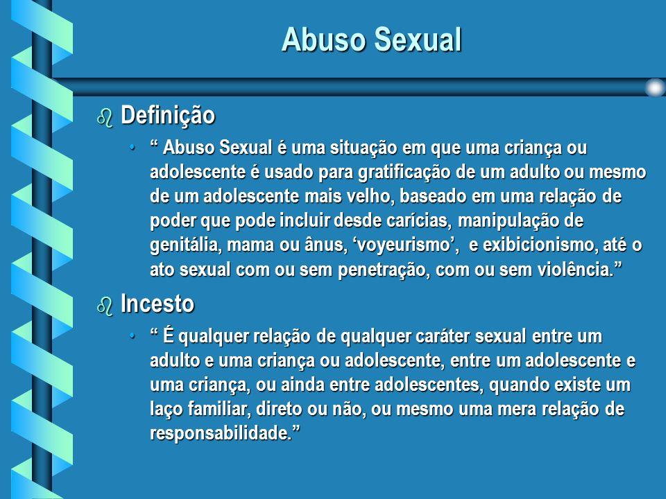 Abuso Sexual b Definição Abuso Sexual é uma situação em que uma criança ou adolescente é usado para gratificação de um adulto ou mesmo de um adolescente mais velho, baseado em uma relação de poder que pode incluir desde carícias, manipulação de genitália, mama ou ânus, voyeurismo, e exibicionismo, até o ato sexual com ou sem penetração, com ou sem violência.