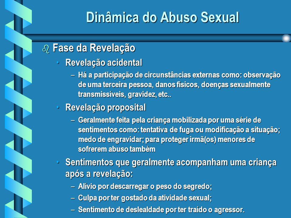 Dinâmica do Abuso Sexual b Fase da Revelação Revelação acidental Revelação acidental – Há a participação de circunstâncias externas como: observação de uma terceira pessoa, danos físicos, doenças sexualmente transmissíveis, gravidez, etc..