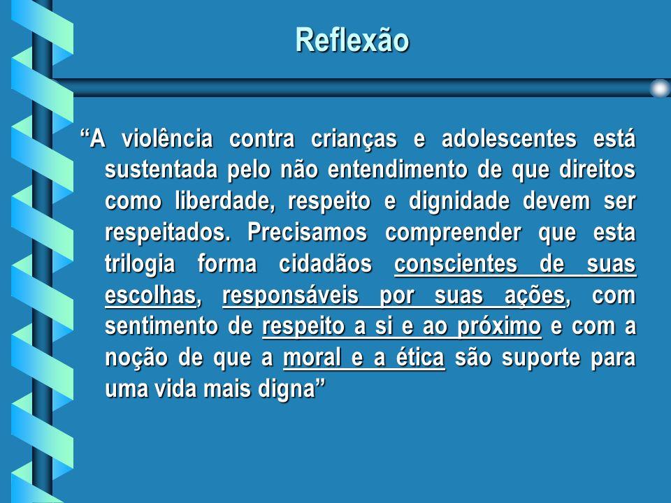 Reflexão A violência contra crianças e adolescentes está sustentada pelo não entendimento de que direitos como liberdade, respeito e dignidade devem ser respeitados.