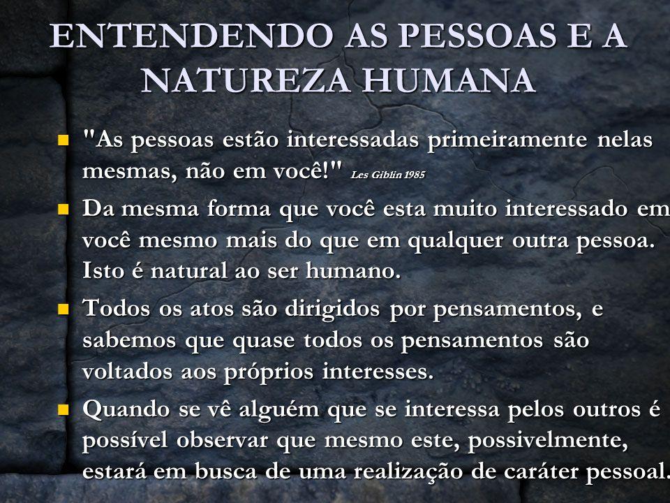 ENTENDENDO AS PESSOAS E A NATUREZA HUMANA O egoísmo é algo inerente ao ser humano.
