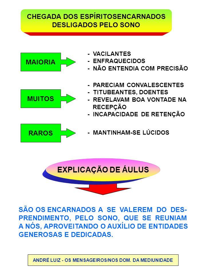 EXPLICAÇÃO DE ÁULUS CHEGADA DOS ESPÍRITOSENCARNADOS DESLIGADOS PELO SONO - PARECIAM CONVALESCENTES - TITUBEANTES, DOENTES - REVELAVAM BOA VONTADE NA R