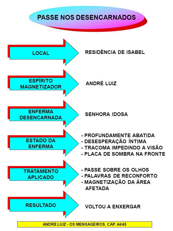PASSE NOS DESENCARNADOS LOCAL ANDRÉ LUIZ - OS MENSAGEIROS, CAP. 44/45 ESPÍRITO MAGNETIZADOR ESPÍRITO MAGNETIZADOR ENFERMA DESENCARNADA ENFERMA DESENCA