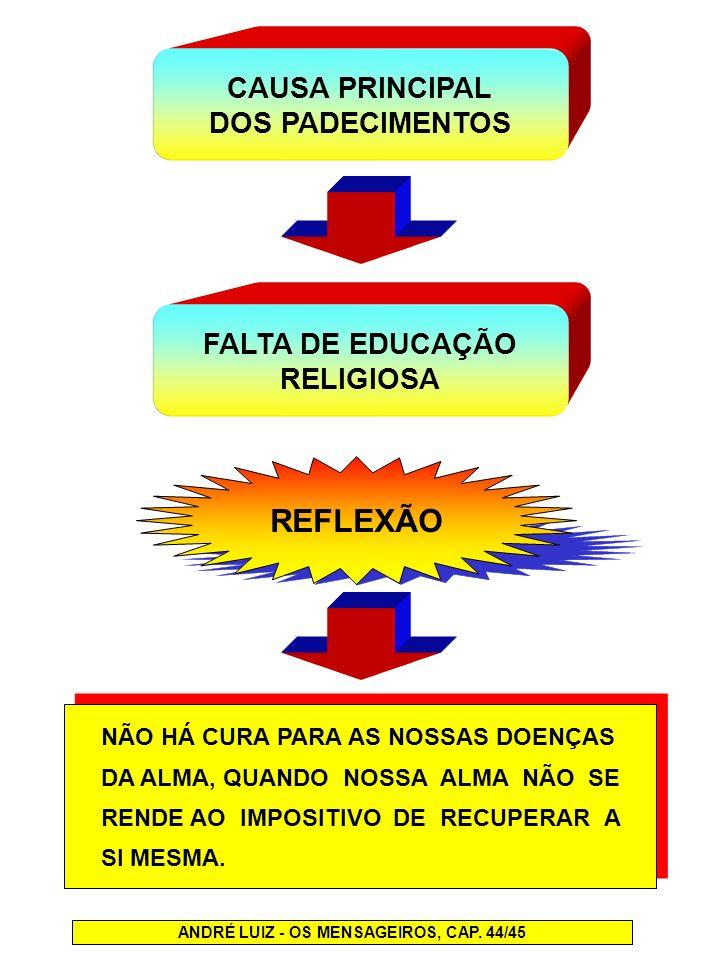 REFLEXÃO CAUSA PRINCIPAL DOS PADECIMENTOS FALTA DE EDUCAÇÃO RELIGIOSA NÃO HÁ CURA PARA AS NOSSAS DOENÇAS DA ALMA, QUANDO NOSSA ALMA NÃO SE RENDE AO IM