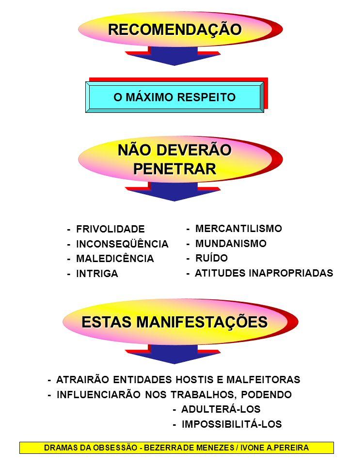 RECOMENDAÇÃO O MÁXIMO RESPEITO NÃO DEVERÃO PENETRAR - FRIVOLIDADE - INCONSEQÜÊNCIA - MALEDICÊNCIA - INTRIGA ESTAS MANIFESTAÇÕES - ATRAIRÃO ENTIDADES H
