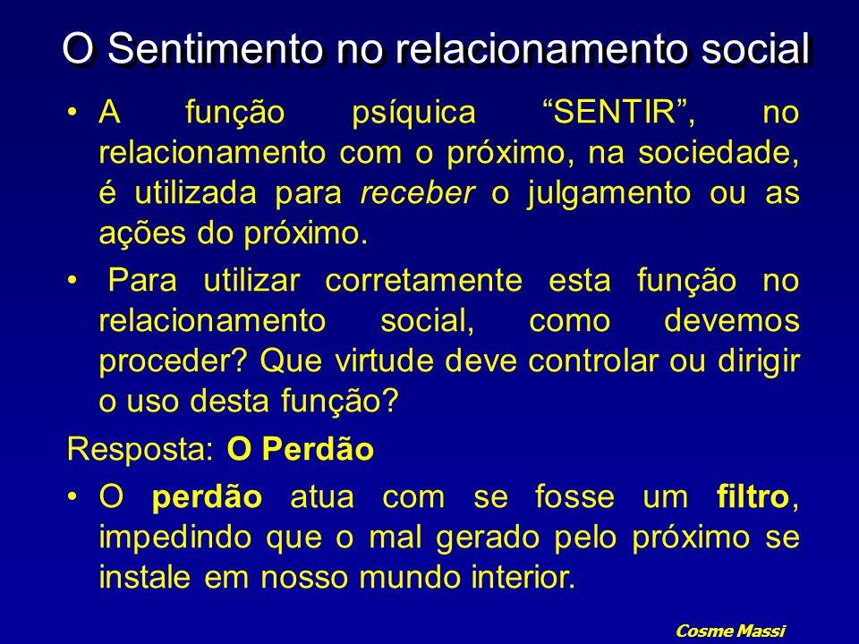 Cosme Massi O Sentimento no relacionamento social A função psíquica SENTIR, no relacionamento com o próximo, na sociedade, é utilizada para receber o