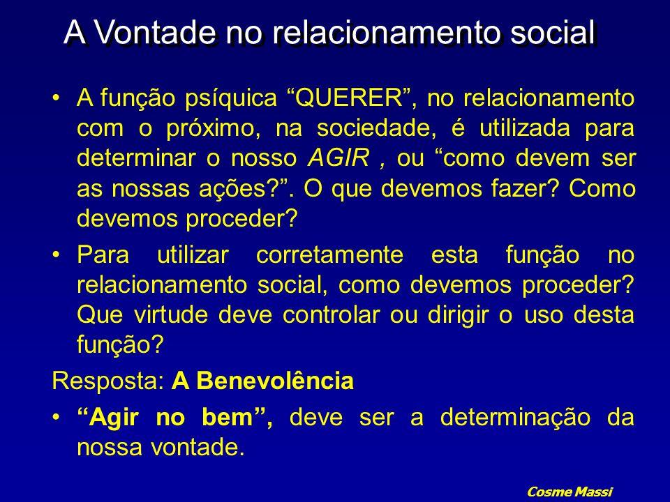 Cosme Massi A Vontade no relacionamento social A função psíquica QUERER, no relacionamento com o próximo, na sociedade, é utilizada para determinar o
