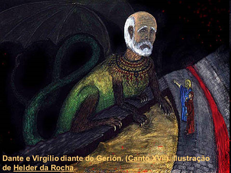 Dante e Virgílio diante de Gerión. (Canto XVII). Ilustração de Helder da Rocha.Canto XVIIHelder da Rocha