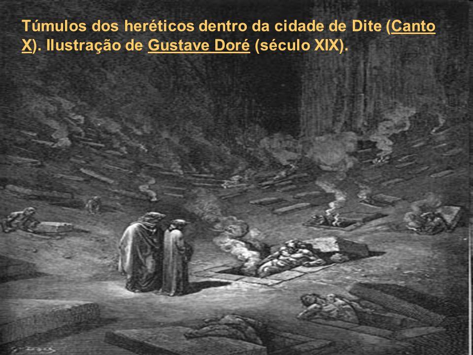 Túmulos dos heréticos dentro da cidade de Dite (Canto X). Ilustração de Gustave Doré (século XIX).Canto XGustave Doré