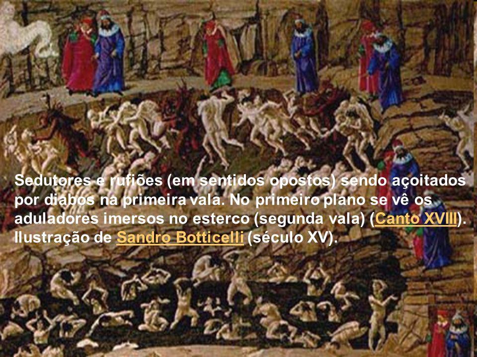 Dante conversa com o papa Nicolau III que o confunde com o papa Bonifácio VIII, aguardado para substituí-lo (Canto XIX).
