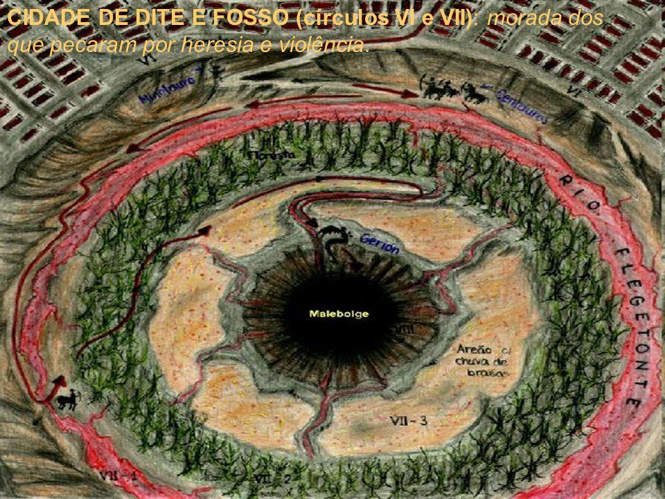 CIDADE DE DITE E FOSSO (círculos VI e VII): morada dos que pecaram por heresia e violência.