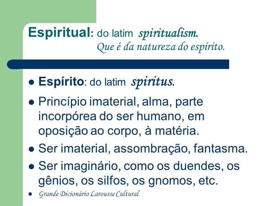 Espiritual : do latim spiritualism.Que é da natureza do espírito.