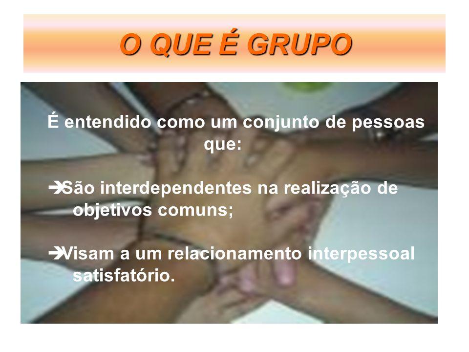 O QUE É GRUPO É entendido como um conjunto de pessoas que: São interdependentes na realização de objetivos comuns; Visam a um relacionamento interpess