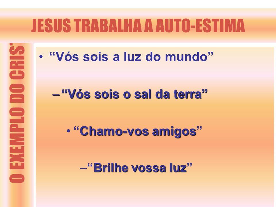 O EXEMPLO DO CRISTO JESUS TRABALHA A AUTO-ESTIMA Vós sois a luz do mundo –Vós sois o sal da terra Chamo-vos amigosChamo-vos amigos Brilhe vossa luz –B
