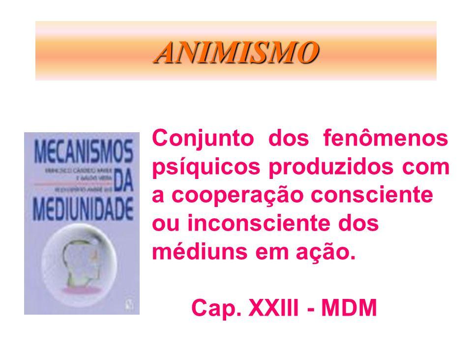 ANIMISMO Conjunto dos fenômenos psíquicos produzidos com a cooperação consciente ou inconsciente dos médiuns em ação. Cap. XXIII - MDM