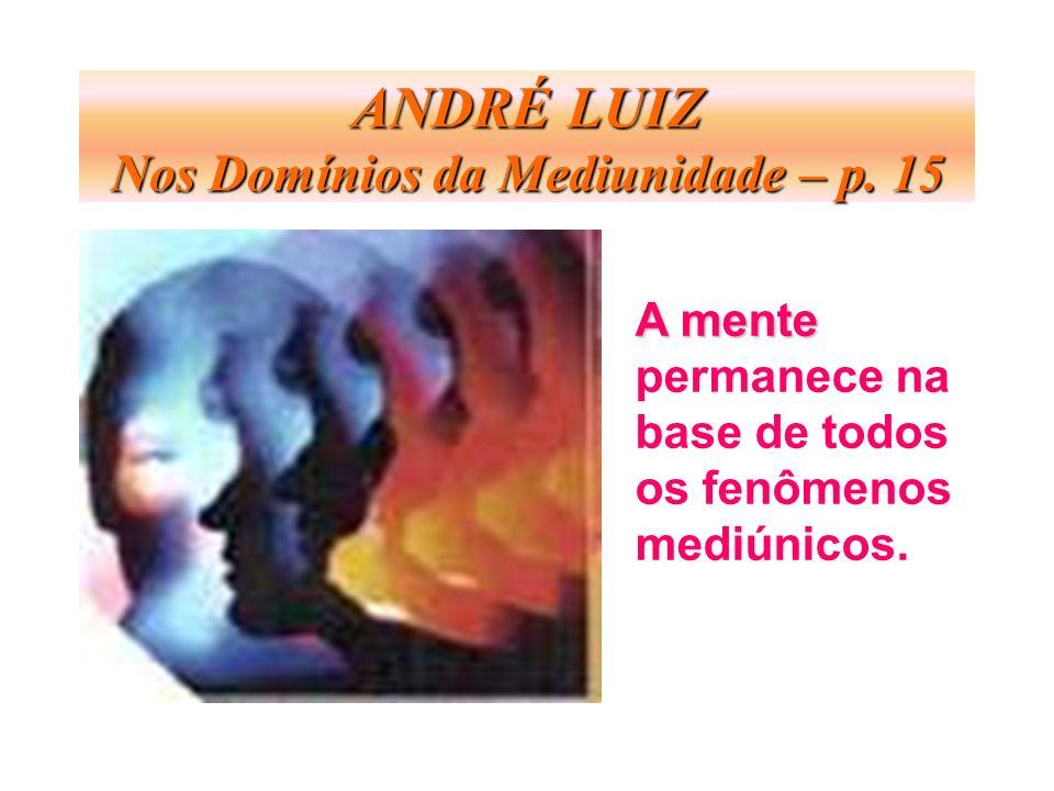 ANDRÉ LUIZ Nos Domínios da Mediunidade – p. 15 A mente permanece na base de todos os fenômenos mediúnicos.