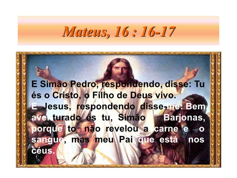 Mateus, 16 : 16-17 E Simão Pedro, respondendo, disse: Tu és o Cristo, o Filho de Deus vivo. E Jesus, respondendo disse-lhe: Bem aventurado és tu, Simã