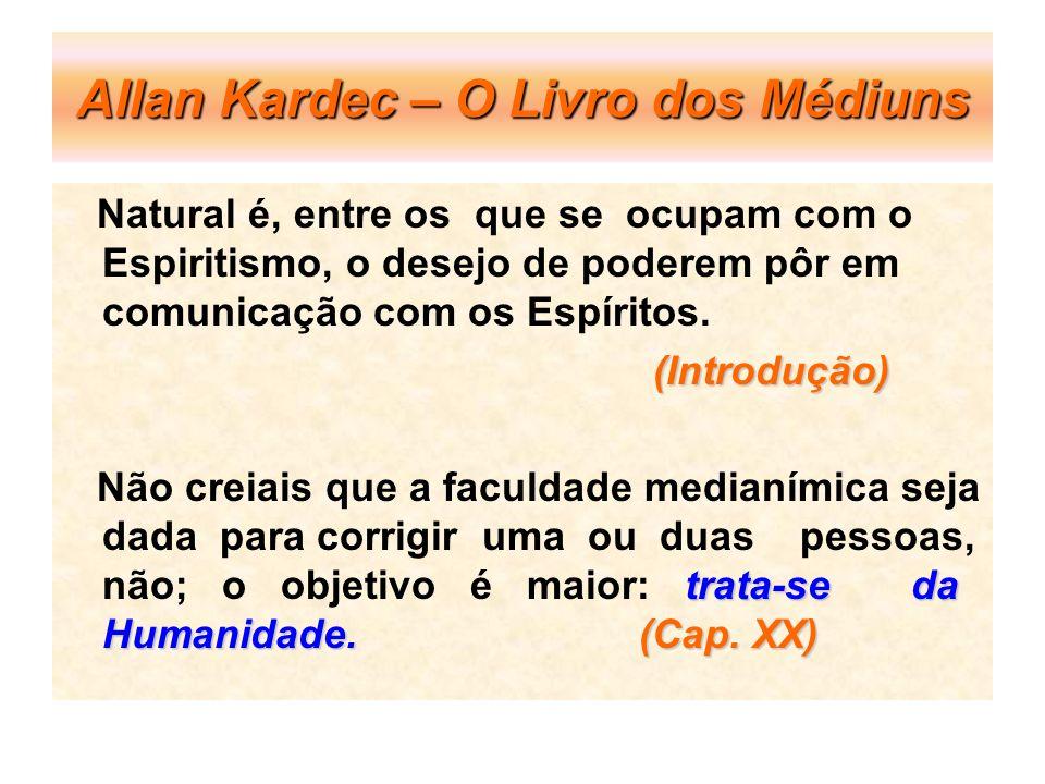 Allan Kardec – O Livro dos Médiuns Natural é, entre os que se ocupam com o Espiritismo, o desejo de poderem pôr em comunicação com os Espíritos. (Intr