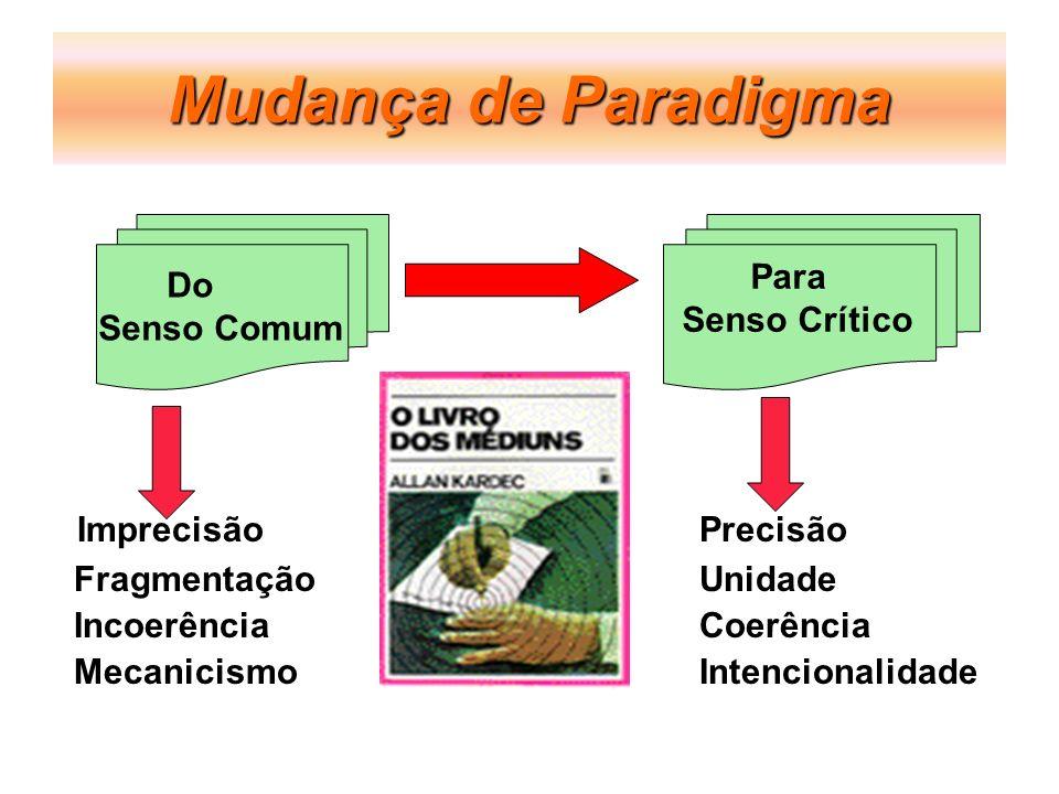Mudança de Paradigma ImprecisãoPrecisão FragmentaçãoUnidade IncoerênciaCoerência MecanicismoIntencionalidade Do Senso Comum Para Senso Crítico