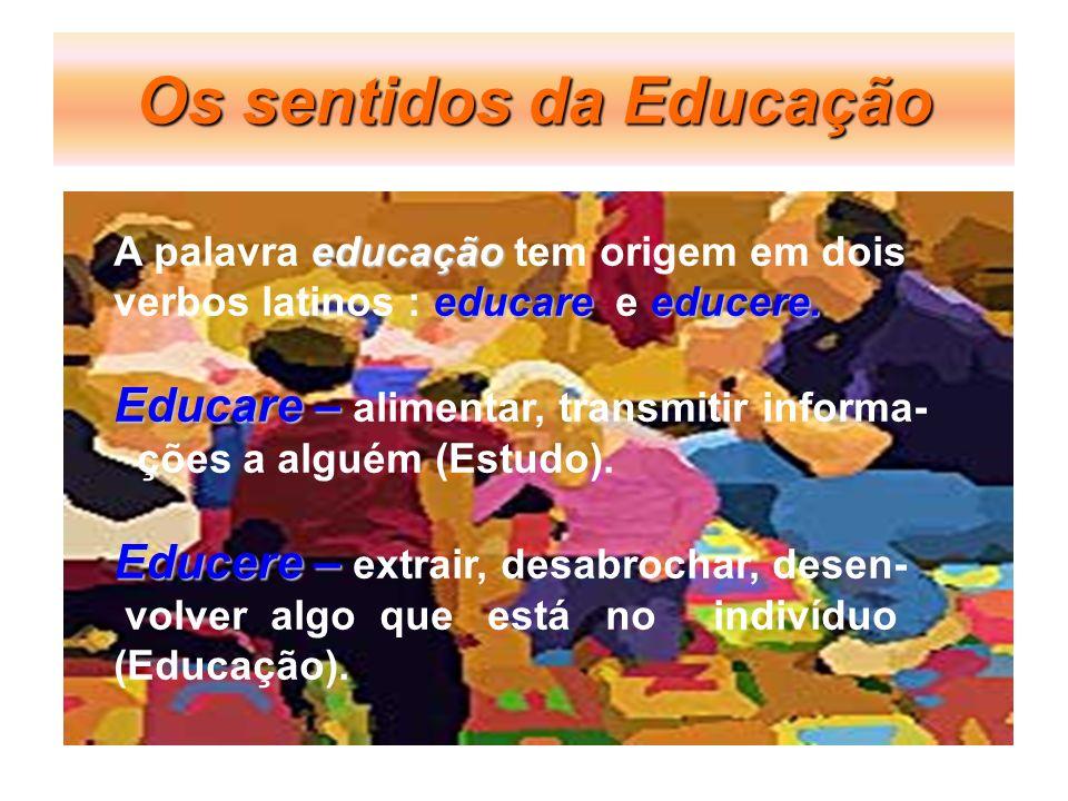 Os sentidos da Educação educação A palavra educação tem origem em dois educare educere. verbos latinos : educare e educere. Educare – Educare – alimen