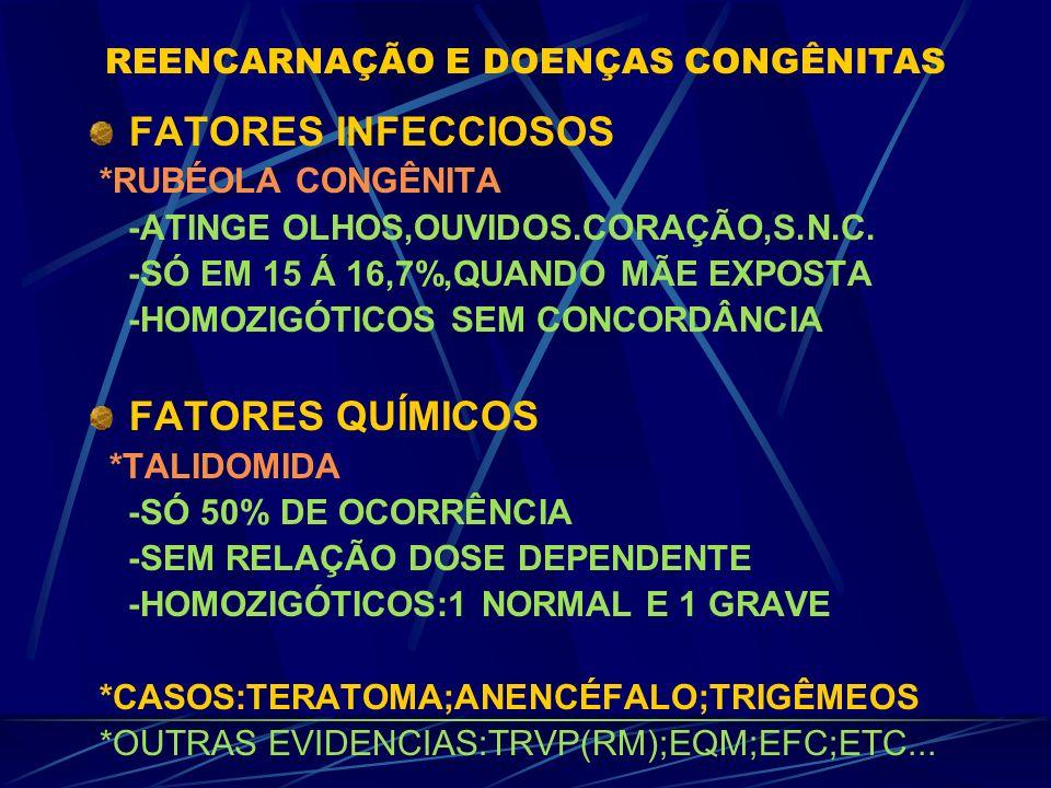 FATORES GENÉTICOS: -LÁBIO LEPORINO -DIZIGÓTICOS:SÓ 8% -HOMOZIGÓTICOS:32% -SIAMESES:1 TEM,1 Ñ -INTENSIDADE # -S. MARFAN(CROMOSSOMO 15) GRANDE VARIAÇÃO