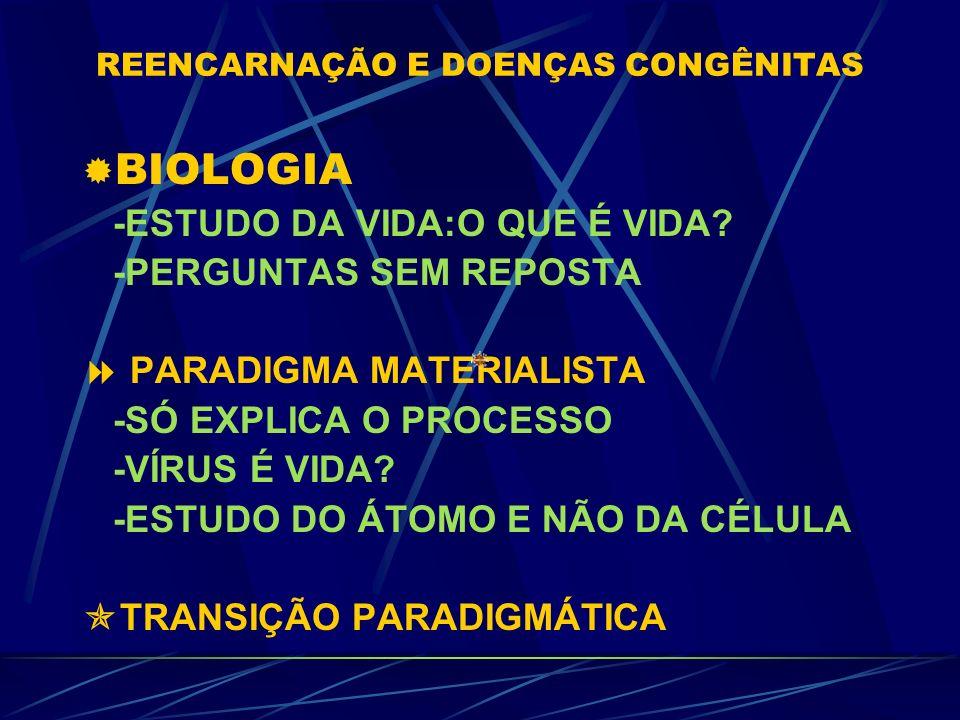 REENCARNAÇÃO E DOENÇAS CONGÊNITAS Dra.Adriana Kátia de Oliveira Pediatria e Homeopatia AME-SE