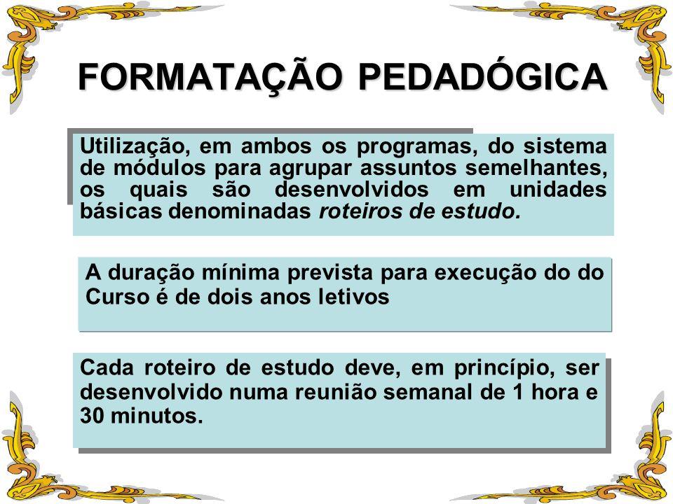 FORMATAÇÃO PEDADÓGICA Utilização, em ambos os programas, do sistema de módulos para agrupar assuntos semelhantes, os quais são desenvolvidos em unidad
