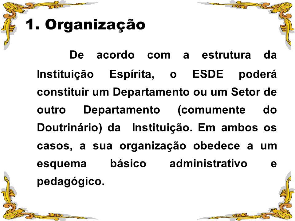 1. Organização De acordo com a estrutura da Instituição Espírita, o ESDE poderá constituir um Departamento ou um Setor de outro Departamento (comument