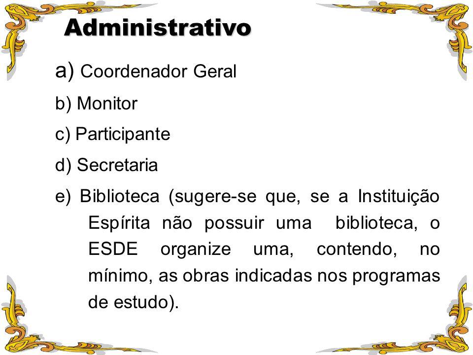 a) Coordenador Geral b) Monitor c) Participante d) Secretaria e) Biblioteca (sugere-se que, se a Instituição Espírita não possuir uma biblioteca, o ES
