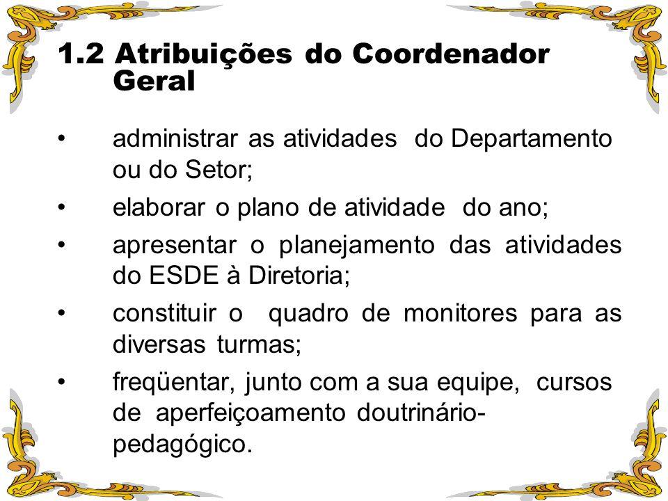1.2 Atribuições do Coordenador Geral administrar as atividades do Departamento ou do Setor; elaborar o plano de atividade do ano; apresentar o planeja