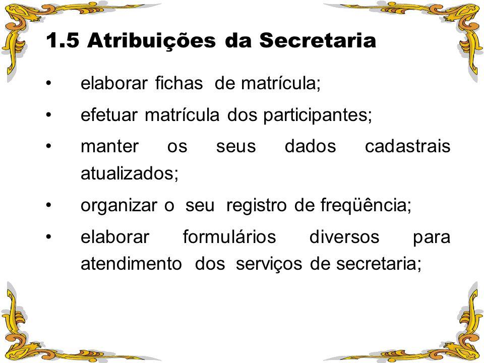 1.5 Atribuições da Secretaria elaborar fichas de matrícula; efetuar matrícula dos participantes; manter os seus dados cadastrais atualizados; organiza