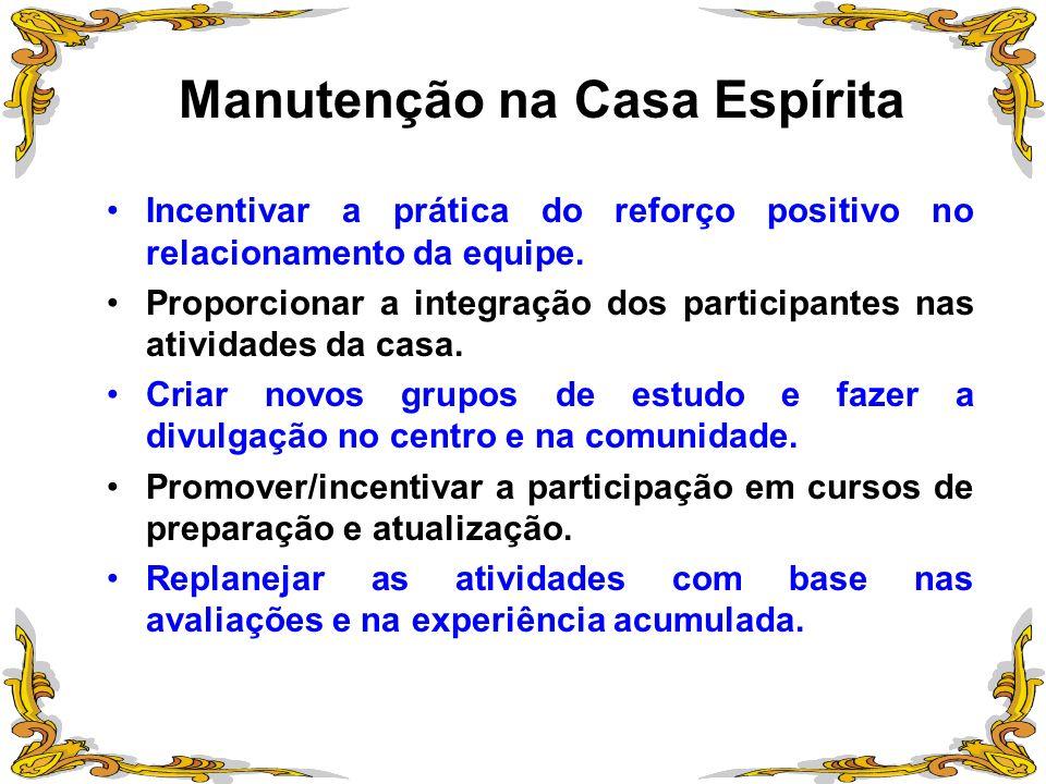 Manutenção na Casa Espírita Incentivar a prática do reforço positivo no relacionamento da equipe. Proporcionar a integração dos participantes nas ativ