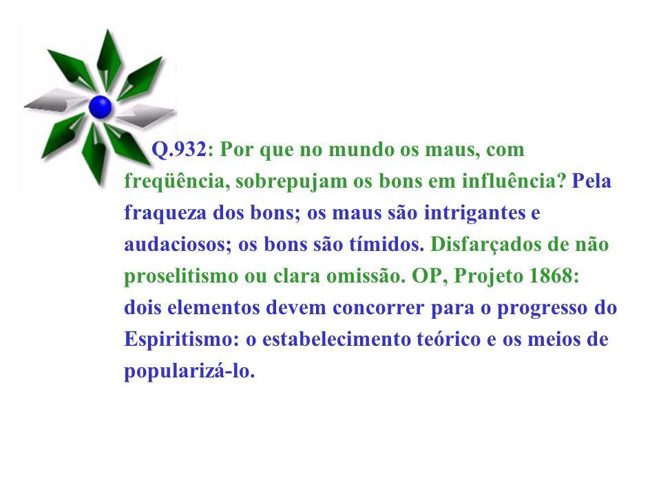 Q.932: Por que no mundo os maus, com freqüência, sobrepujam os bons em influência? Pela fraqueza dos bons; os maus são intrigantes e audaciosos; os bo