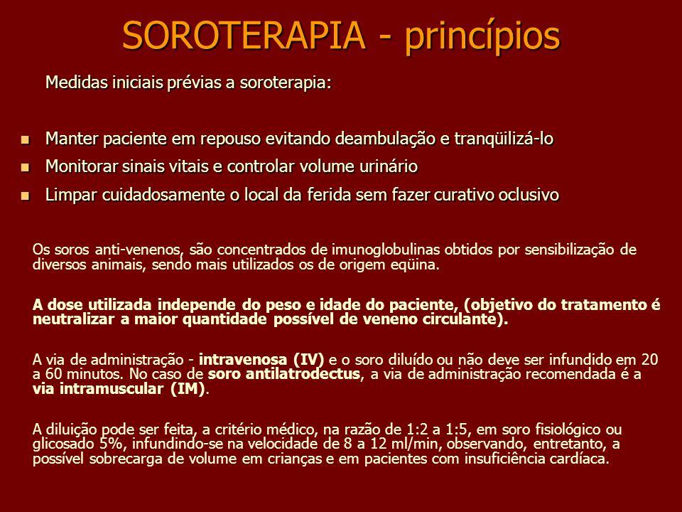SOROTERAPIA - princípios Os soros anti-venenos, são concentrados de imunoglobulinas obtidos por sensibilização de diversos animais, sendo mais utiliza