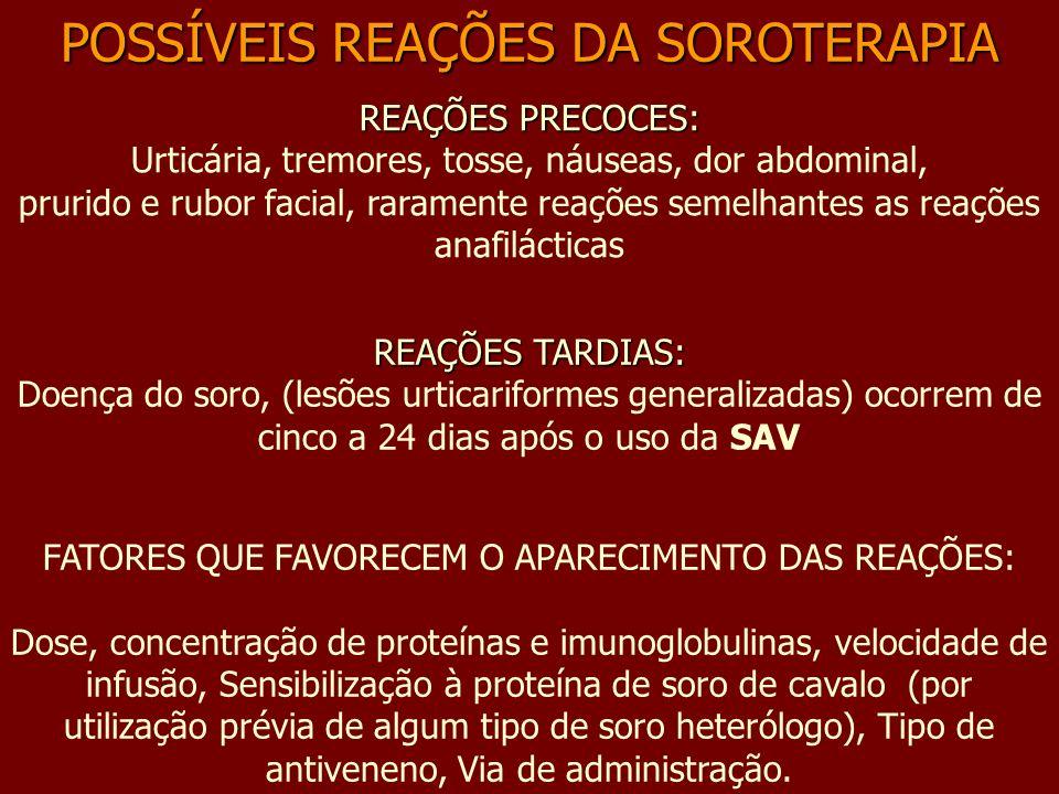 REAÇÕES PRECOCES: REAÇÕES PRECOCES: Urticária, tremores, tosse, náuseas, dor abdominal, prurido e rubor facial, raramente reações semelhantes as reaçõ