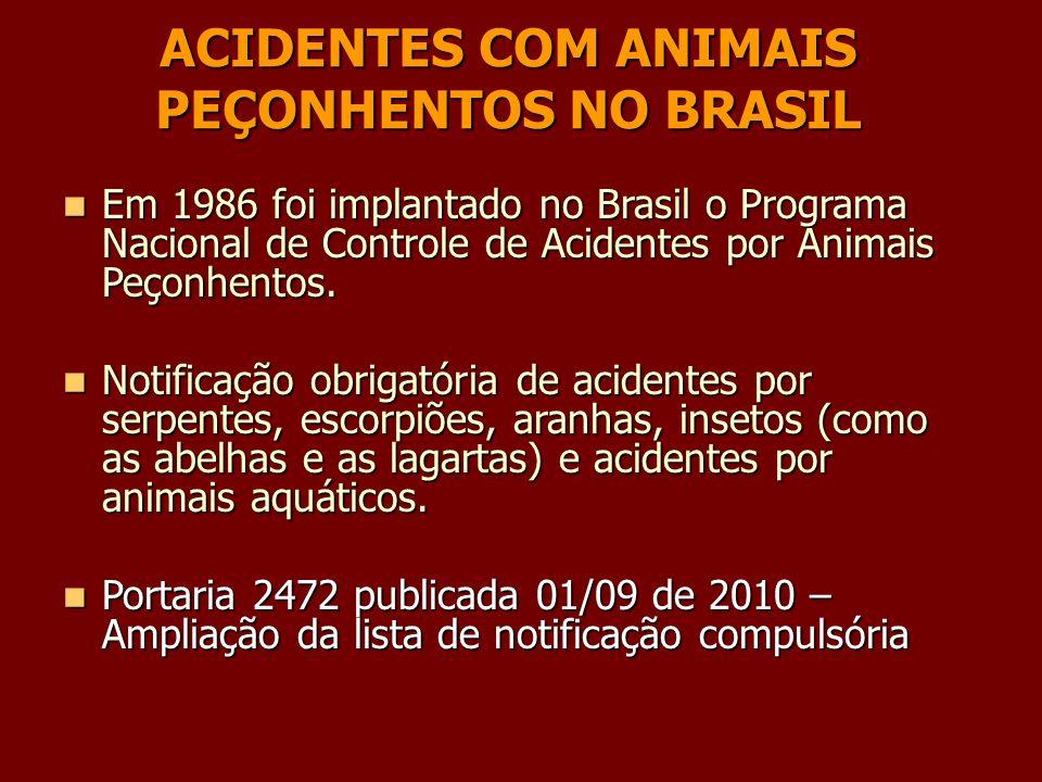 Em 1986 foi implantado no Brasil o Programa Nacional de Controle de Acidentes por Animais Peçonhentos. Em 1986 foi implantado no Brasil o Programa Nac