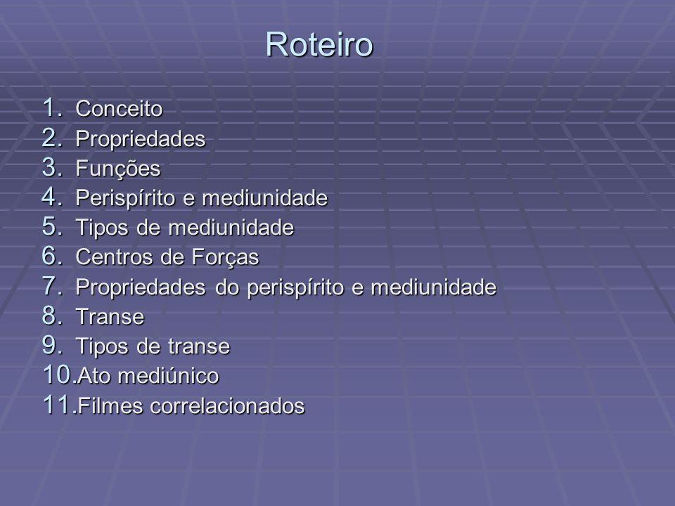 1. Conceito 2. Propriedades 3. Funções 4. Perispírito e mediunidade 5. Tipos de mediunidade 6. Centros de Forças 7. Propriedades do perispírito e medi