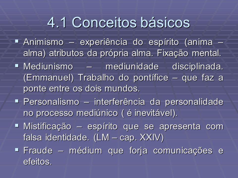 4.1 Conceitos básicos Animismo – experiência do espírito (anima – alma) atributos da própria alma. Fixação mental. Animismo – experiência do espírito