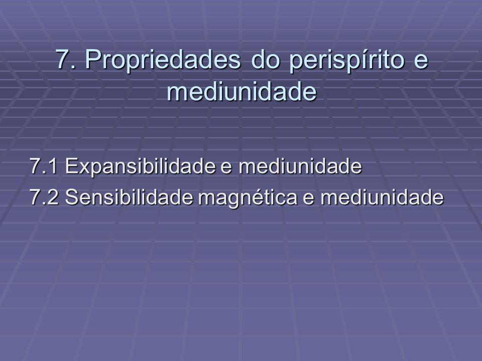 7. Propriedades do perispírito e mediunidade 7.1 Expansibilidade e mediunidade 7.2 Sensibilidade magnética e mediunidade