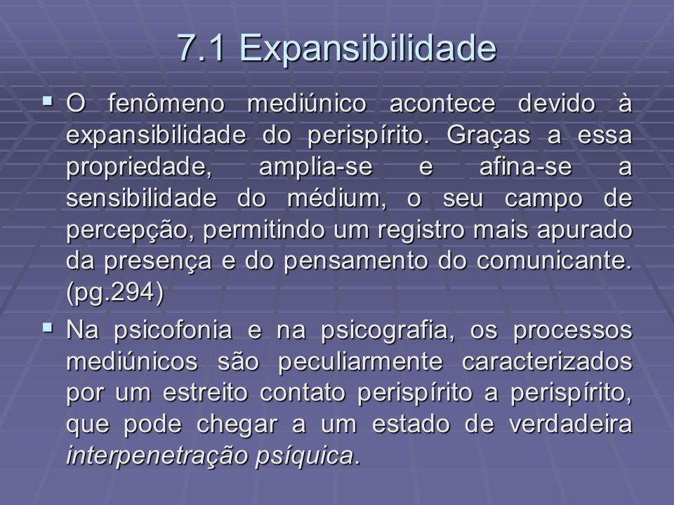 7.1 Expansibilidade O fenômeno mediúnico acontece devido à expansibilidade do perispírito. Graças a essa propriedade, amplia-se e afina-se a sensibili