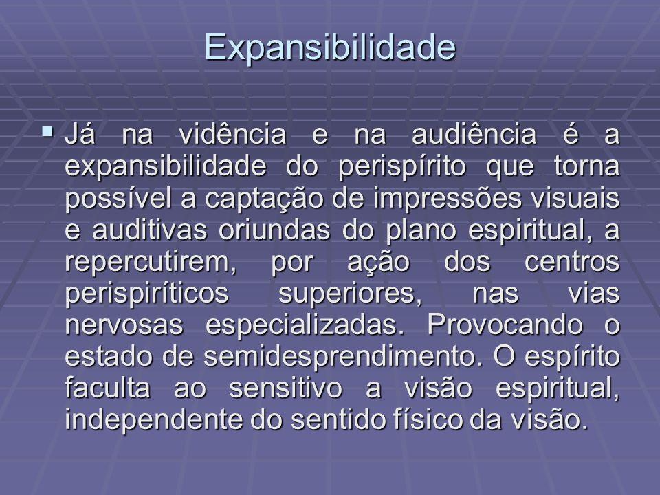 Expansibilidade Já na vidência e na audiência é a expansibilidade do perispírito que torna possível a captação de impressões visuais e auditivas oriun