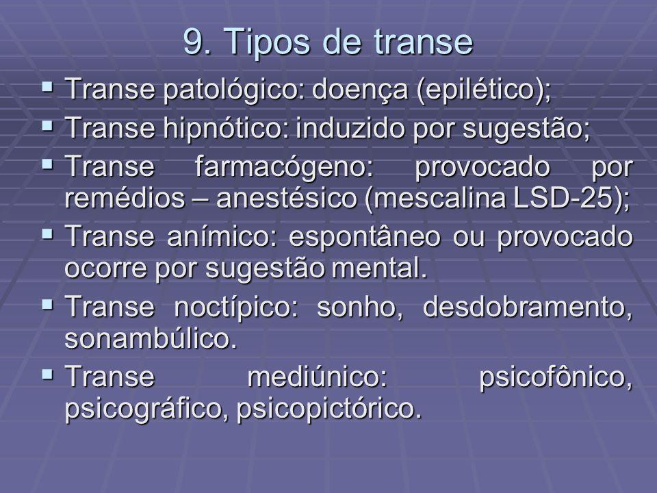 9. Tipos de transe Transe patológico: doença (epilético); Transe patológico: doença (epilético); Transe hipnótico: induzido por sugestão; Transe hipnó