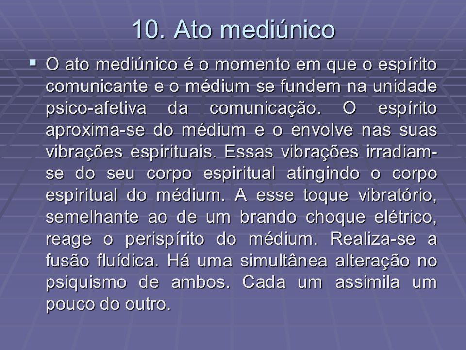 10. Ato mediúnico O ato mediúnico é o momento em que o espírito comunicante e o médium se fundem na unidade psico-afetiva da comunicação. O espírito a