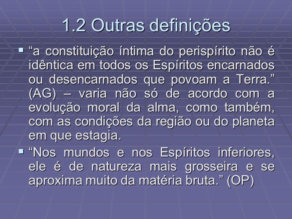 1.2 Outras definições a constituição íntima do perispírito não é idêntica em todos os Espíritos encarnados ou desencarnados que povoam a Terra. (AG) –